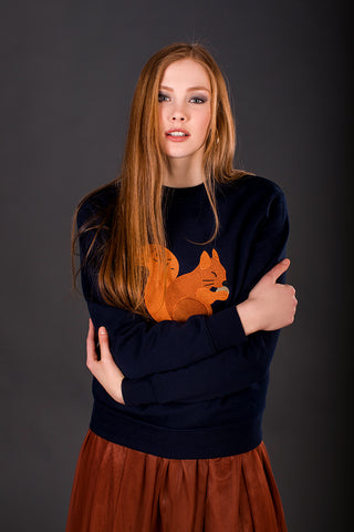 Dark blue Sweater with Red squirrel