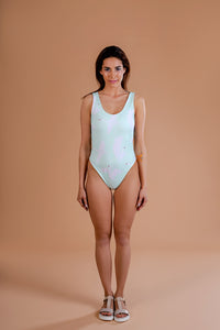 Swimsuit / One piece / Swan print / Light Green colour