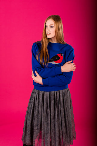 Royal Blue Sweater with Bullfinch