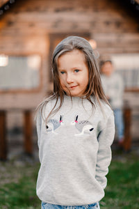 Light Gray Sweater with Bunnies  / Kids