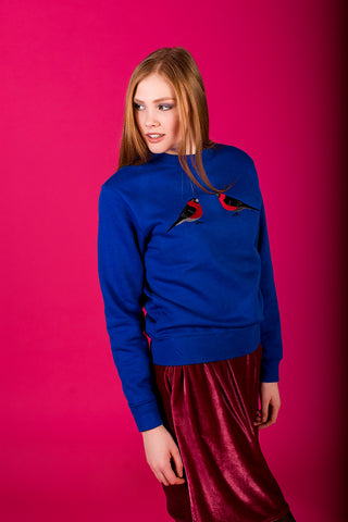 Royal Blue Sweater with Bullfinches
