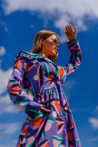 Softshell Raincoat / Purple / Orange print