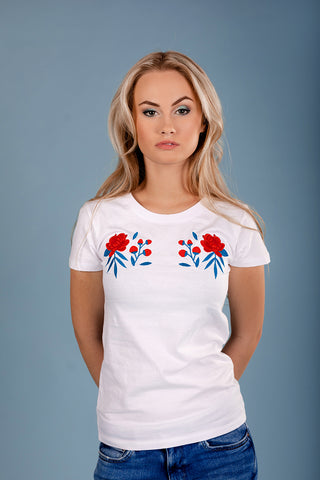 T-Shirt with Red Peonies/ White