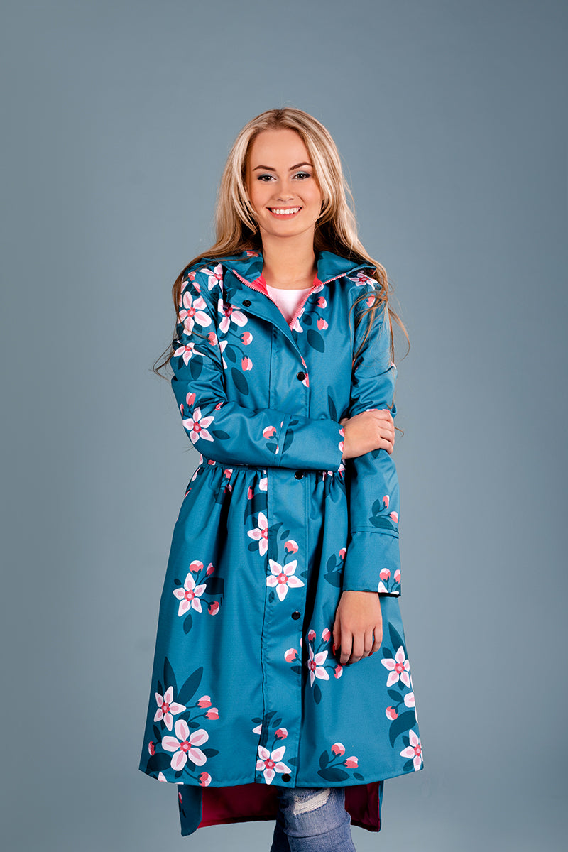Teal raincoat with Apple Blossoms print / Tale