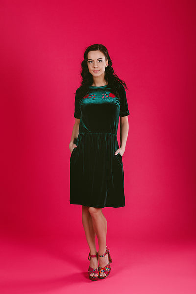 Dark Green Dress with Peonies