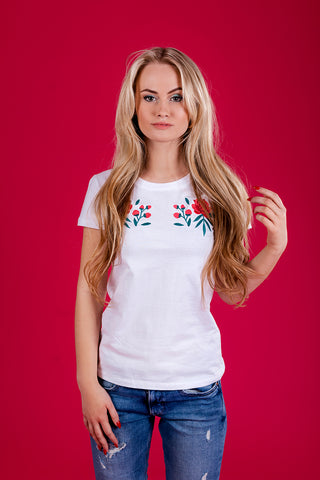 T -shirt with Pink Peonies/ White