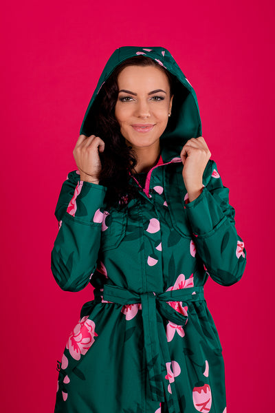 Dark Green raincoat with Peonies print / Long skirt