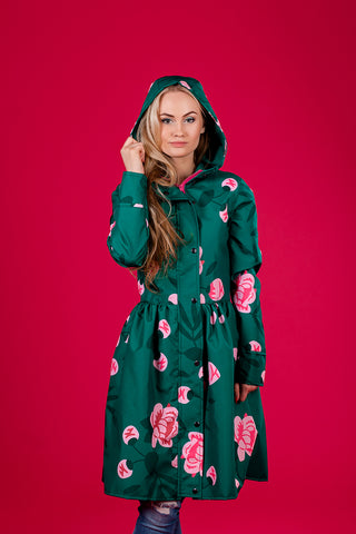 Dark Green raincoat with Peonies print