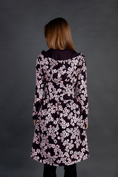 Softshell raincoat / Dark Burgundy / Pink Flowers