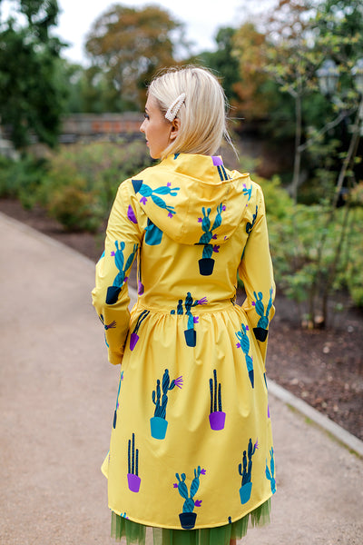 Yellow raincoat with Cactus print