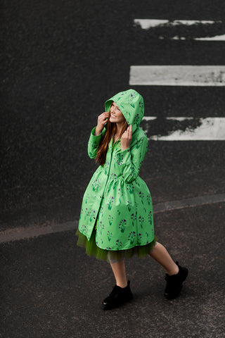 Light Green raincoat with Cyclamen print
