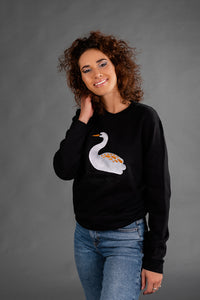 Black Sweater with Swan