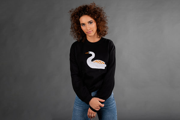 Black Jumper with Swan