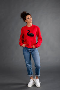 Red Sweater with Swan