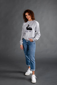Light Gray Sweater with Swan