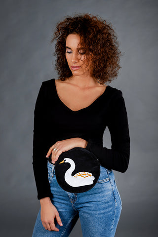 Round Belt Bag with Swan / Black
