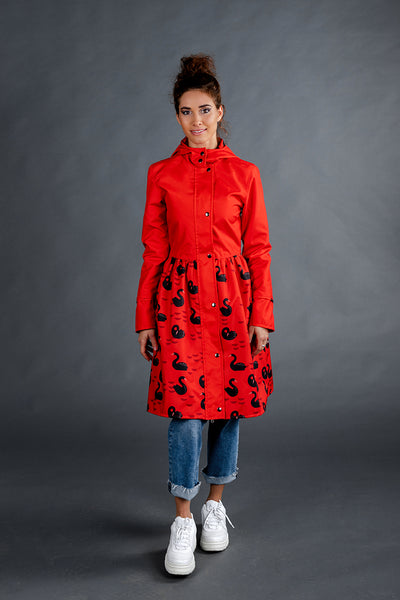 Red raincoat with Swans printed skirts