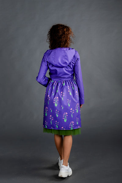Purple raincoat with Cyclamen printed skirt
