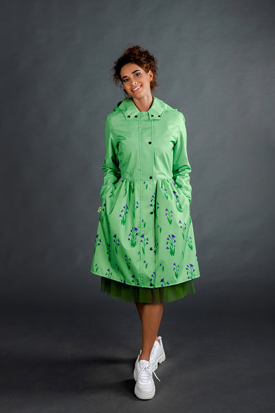 Light Green raincoat with Cyclamen printed skirt