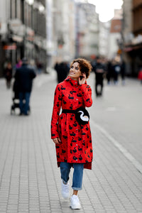 Red raincoat with Swans print  / Tale