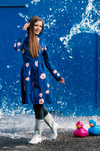Blue raincoat with Flower print