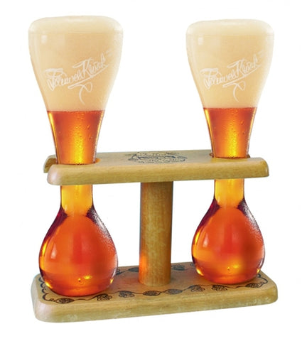 Double Kwak Glass + Wooden Stand - 2x330 ml