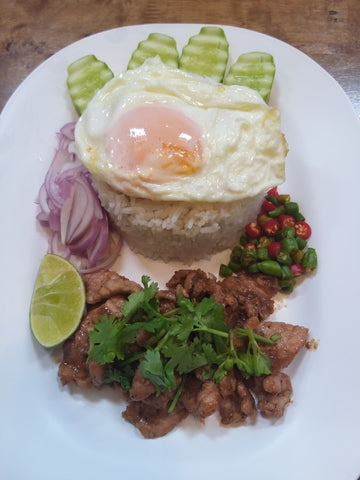 Fried Pork with Shrimp-paste And Rice ข้าวหมูผัดกะปิ
