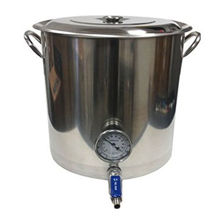 Brew Kettle with Valve and Built-in Thermometer - 13 gallon