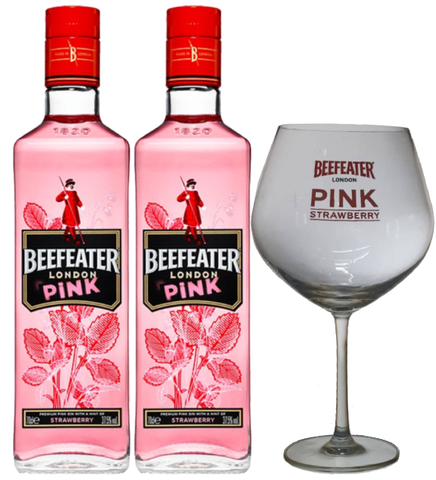 2x Beefeater  London Pink - 750ml - 37.5% + 1x Beefeater Glass