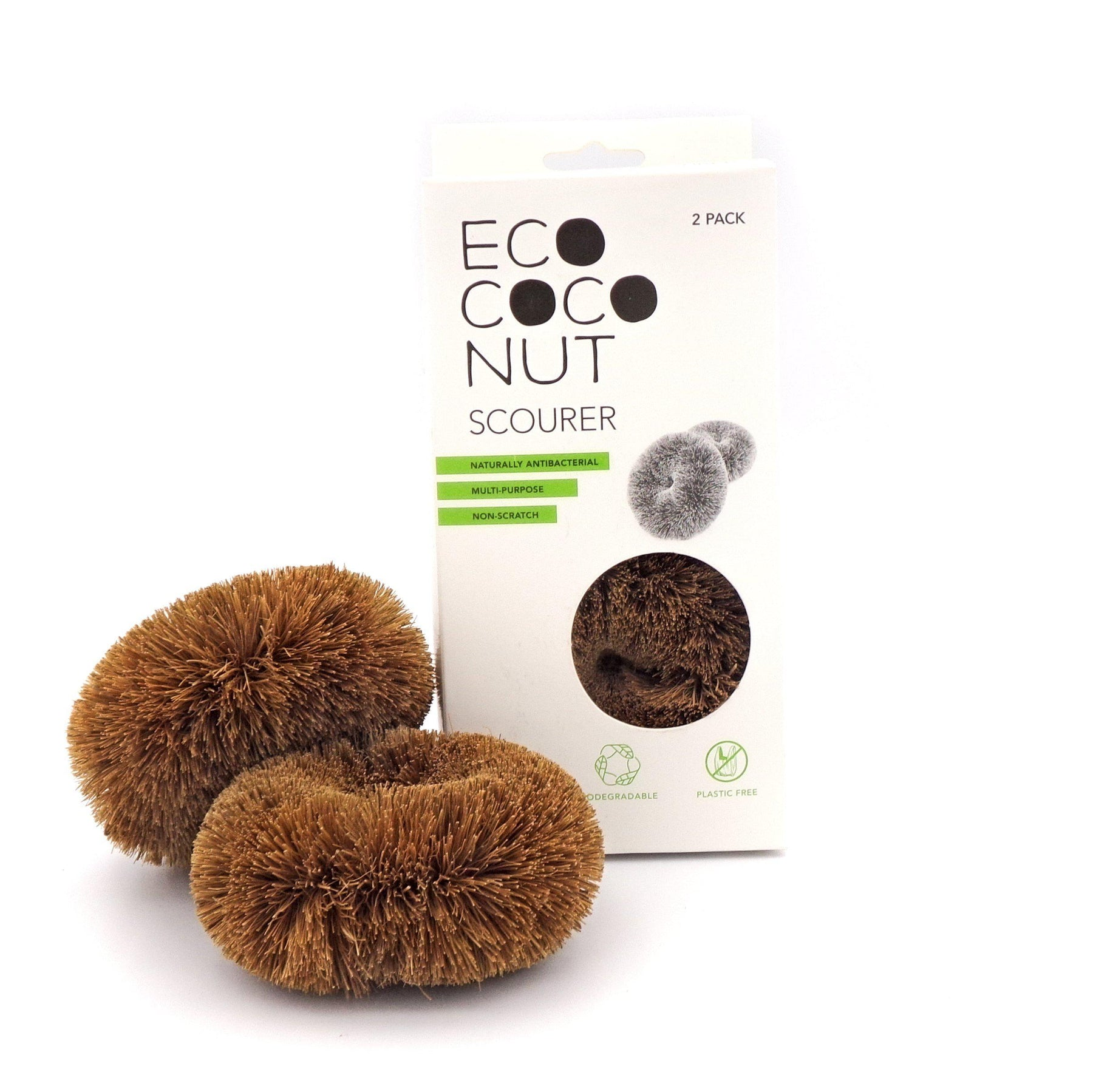 Ecococonut Twin Pack Scourers Kitchen Accessories Ecococonut