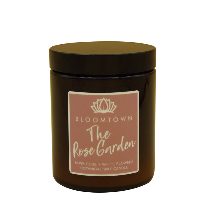Scented Botanical Wax Candle Home Bloomtown The Rose Garden - Musk Rose & White Flowers