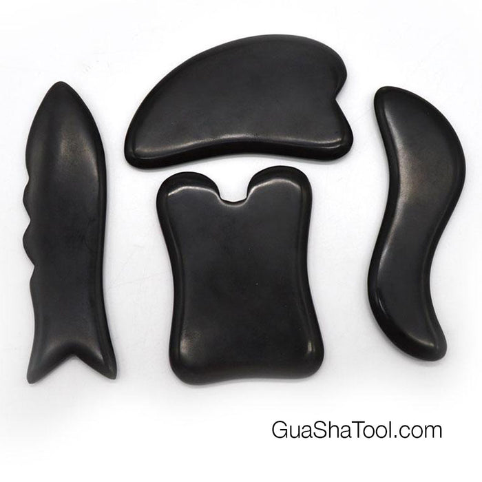 Polished Bian Stone Gua Sha Massage Scraping Tool Set