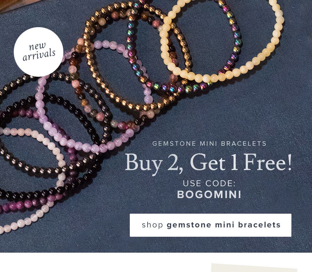 Buy 2, Get 1 Free Gemstone Mini Bracelets with code BOGOMINI