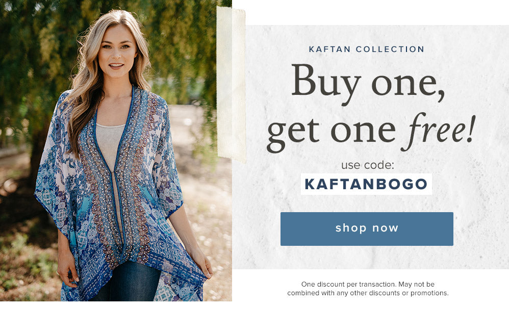 Limited time only - Buy one kaftan, get another one FREE with code KAFTANBOGO