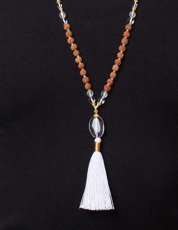 Crown Chakra Clear Quartz & Rudraksha Mala