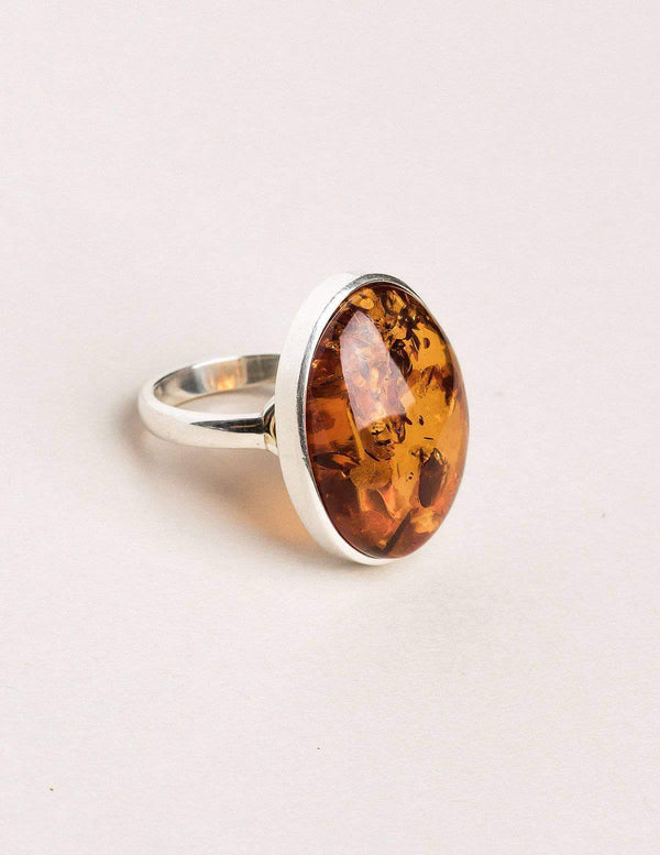 Amber Oval Ring - Size 9