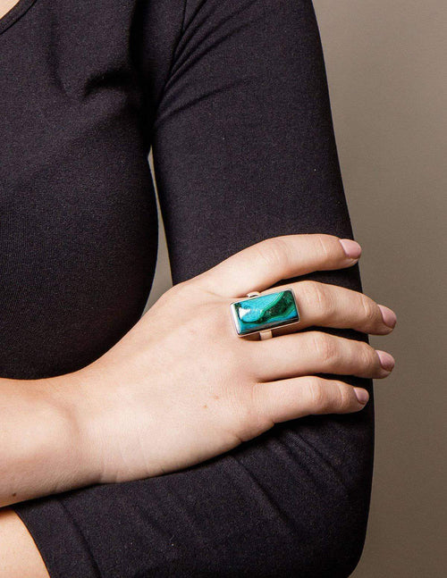 Azurite Malachite Adjustable Ring - One of a Kind