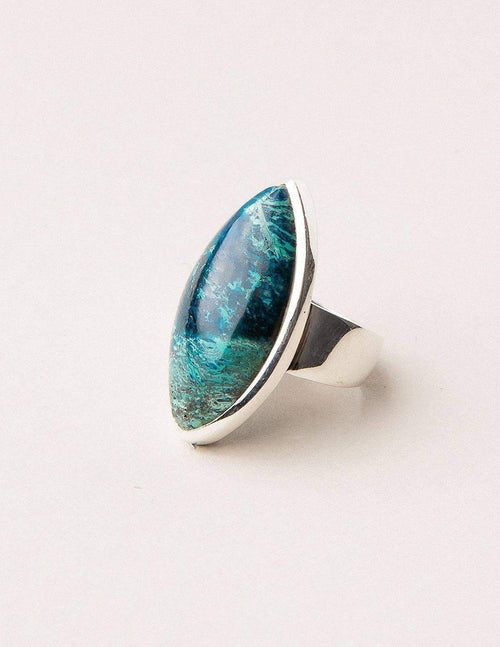 Azurite Malachite Gemstone Ring - One of a Kind