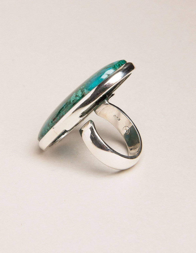 Vintage Large Sterling Silver Ring with Azurite Malachite Stone