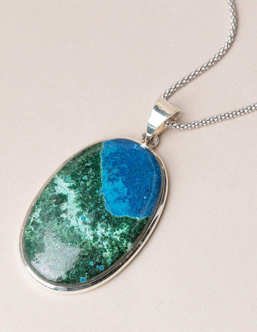 Azurite Malachite Oval Pendant - Large
