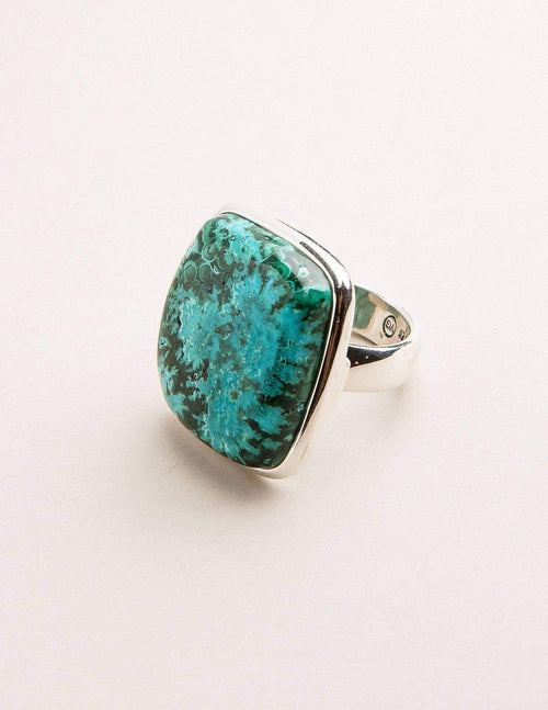 Azurite Malachite Square Cut Ring - Adjustable
