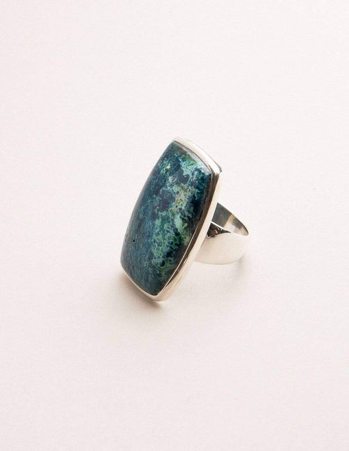 Azurite Malachite Square Gemstone Ring - One-of-a-Kind