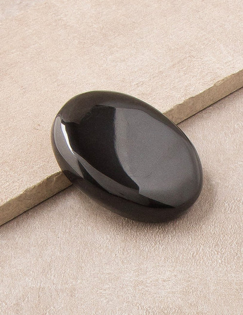 Black Agate Palm Stone