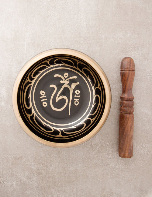 Black Tibetan Om Singing Bowl - 3.25 and 5.25 inches