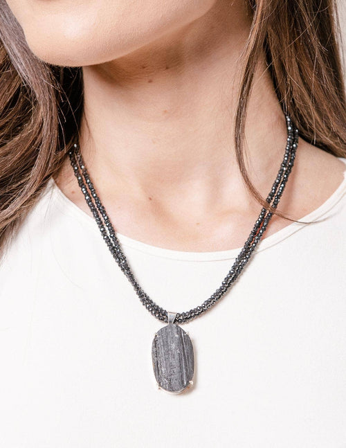 Black Tourmaline Beaded Necklace - One of a Kind
