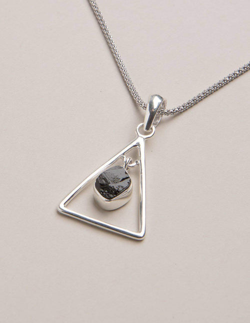 Black Tourmaline Triangle Pendant