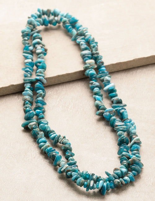 Blue Apatite Gemstone Chip Necklace