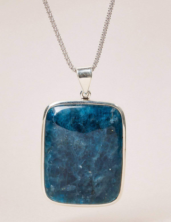 Blue Apatite Square Silver Necklace