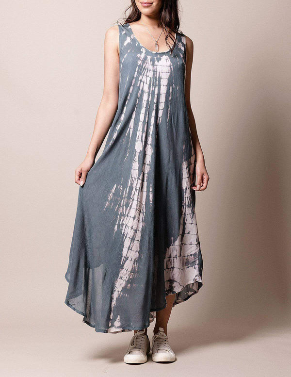 Boho Breeze Tie-Dye Dress - Grey Mist