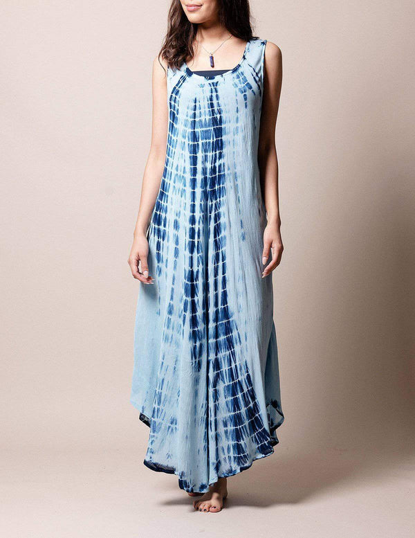 Boho Breeze Tie-Dye Dress - Navy